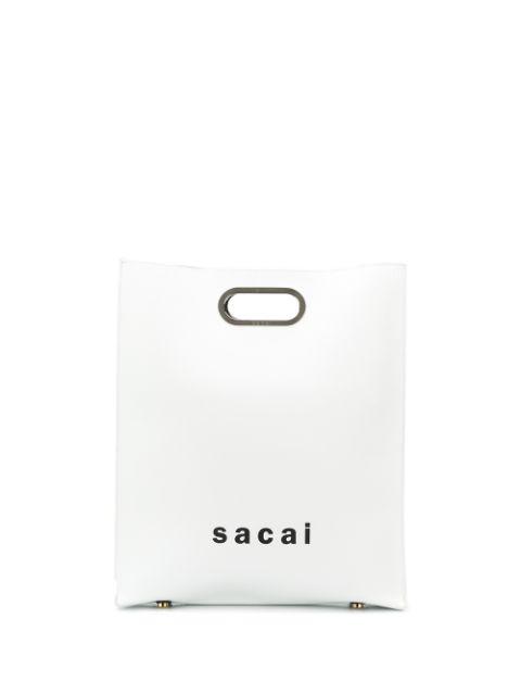 Sacai Logo Print Shopper Bag In White
