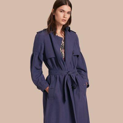 02c46264180 Burberry Oversize Silk Trench Coat With Puff Sleeves In Navy | ModeSens