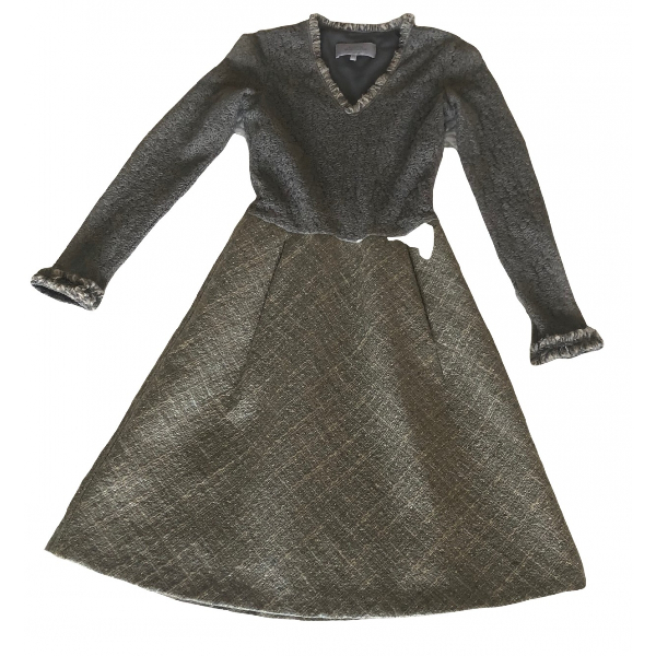 Luisa Beccaria Grey Wool Dress