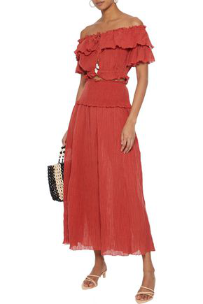 Zimmermann Veneto Cropped Off-the-shoulder Crinkled Ramie And Cotton-blend Gauze Top In Brick