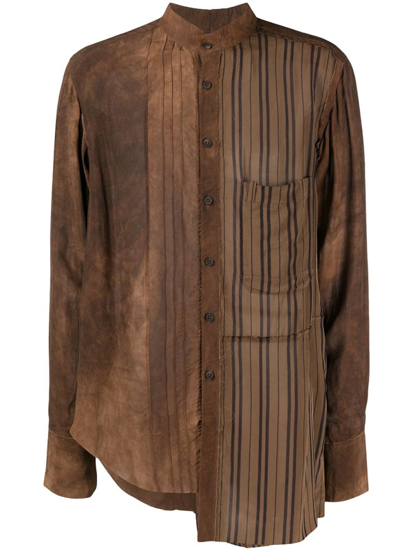 Ziggy Chen Asymmetric Buttoned Shirt In Brown