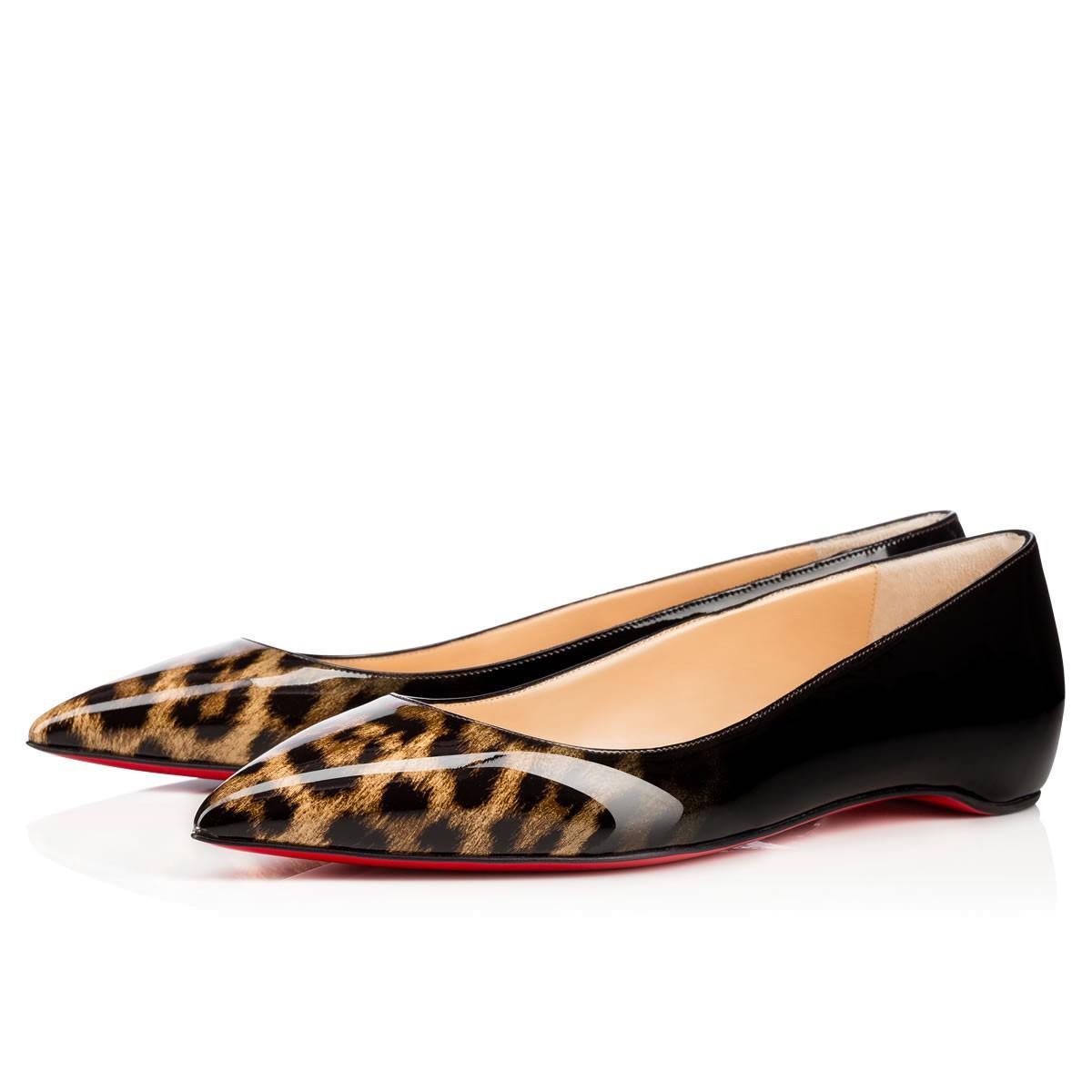 7697a803d2d Christian Louboutin Pigalle Follies Flat Leopard-Black Patent Leather -  Women Shoes -