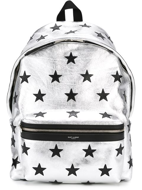52ee37e10a Saint Laurent Classic City California Backpack In Metallic Silver And Black  Leather In Silver Black