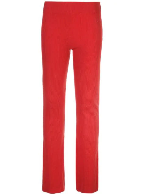 Alexandra Golovanoff Red Women's Ribbed Knit Trousers