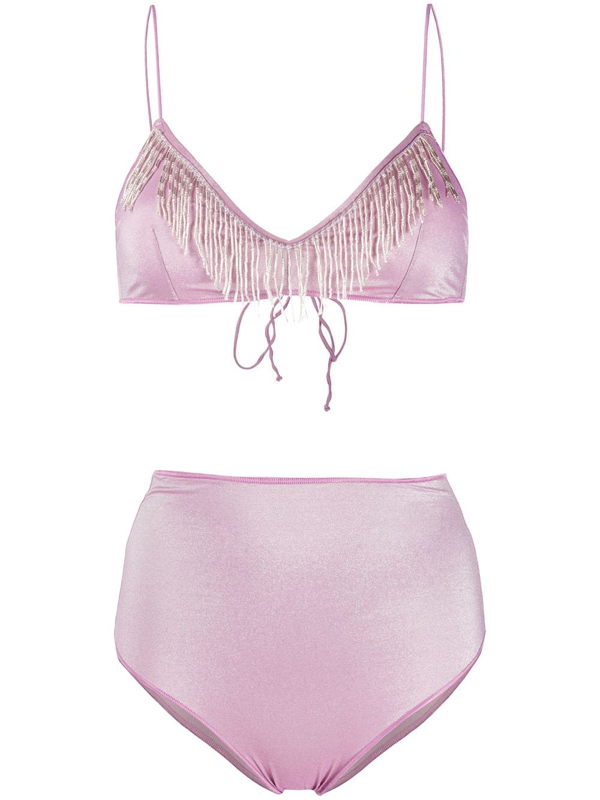 Oseree Bead-embellished Bikini Set In Purple