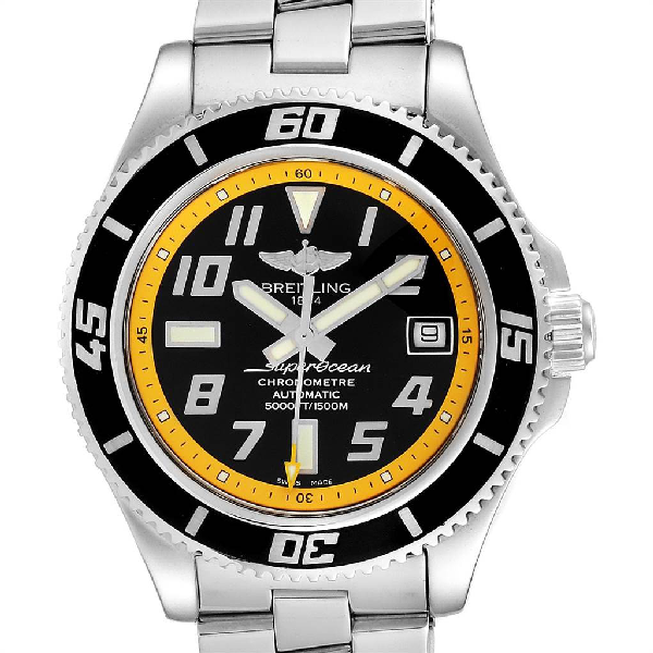 Breitling Superocean 42 Abyss Black Yellow Mens Watch A17364 Box Papers In Not Applicable