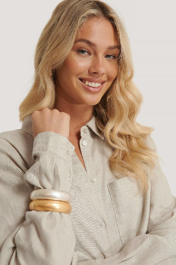 Na-kd Matte Chubby Bracelets Silver In Silver/gold