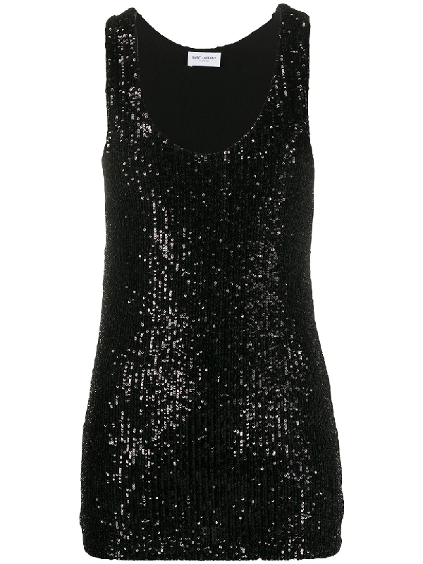 Saint Laurent Bead Embellished Tank Top In Black