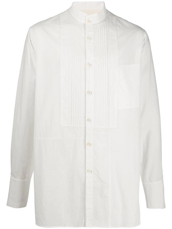 Ziggy Chen Mandarin Collar Cotton Shirt In White