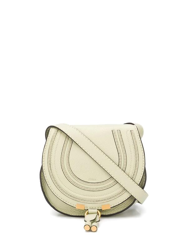 Chloé Mini Marcie Leather Saddle Bag In Green