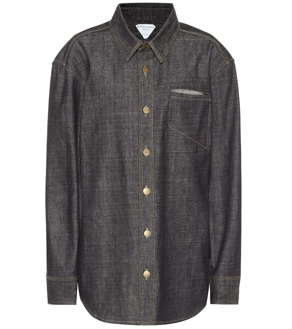 Bottega Veneta Raw Denim Shirt In Blue