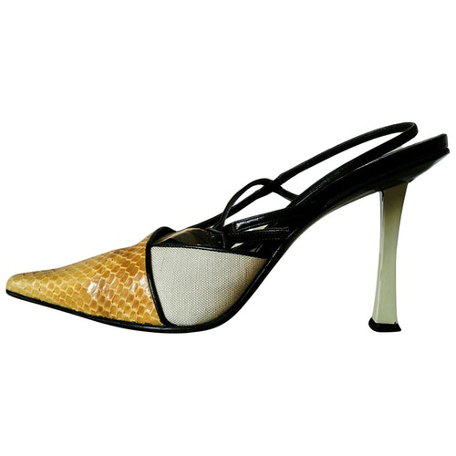 Pre-owned Diego Dolcini Yellow Water Snake Sandals