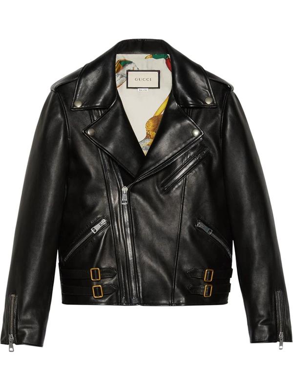 Gucci Plongé Leather Biker Jacket In Black