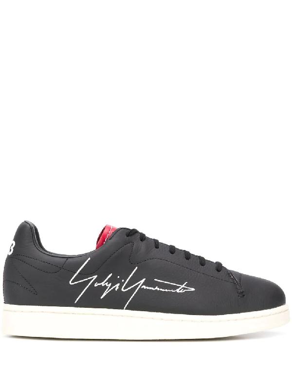 Y-3 Yohji Court Sneakers In Black Leather