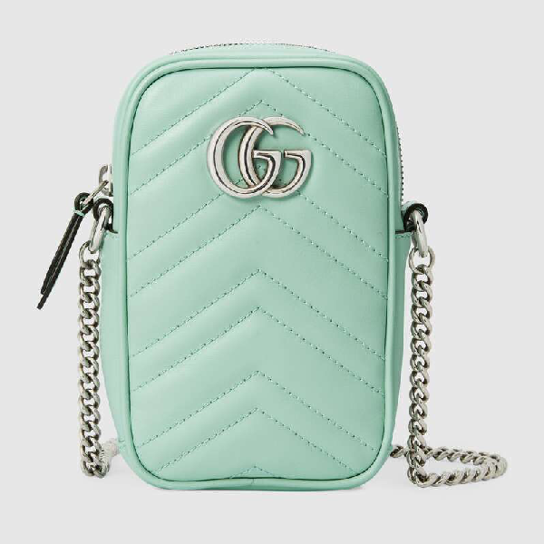 Gucci Gg Marmont Leather Mini Bag In Green
