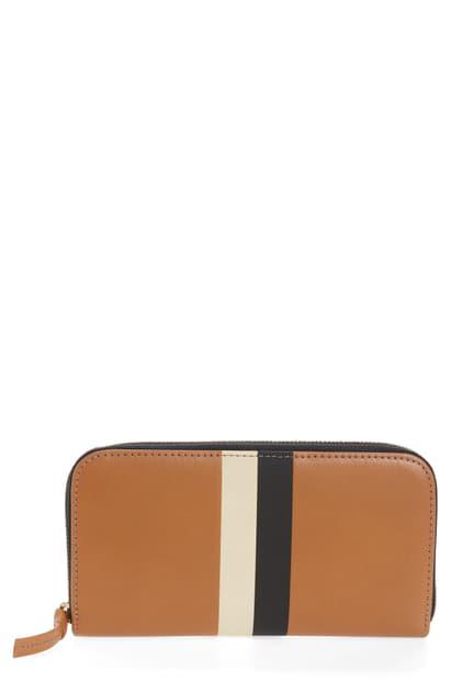 Clare V Leather Zip Around Wallet In Cuoio Vachetta