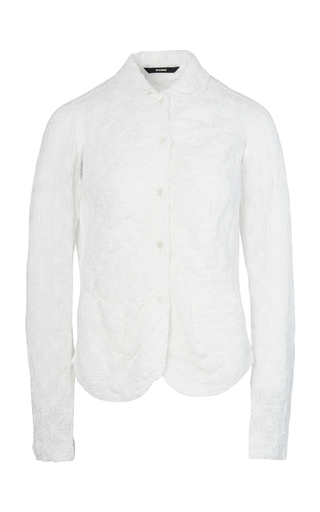 Bourie Embroidary Shirring Front Shirt-jacket In White