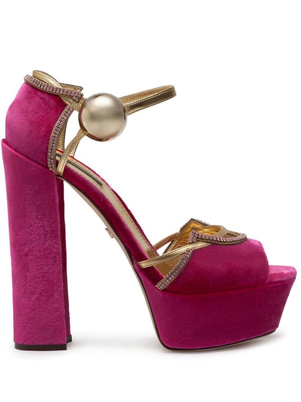 Dolce & Gabbana Velvet And Mordoré Platform Sandals In Pink