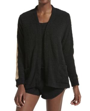 Kendall + Kylie Women's Microfleece Long Sleeve Cardigan In Black