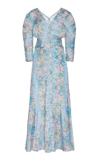 Bytimo Printed Crepe De Chine Maxi Dress In Blue