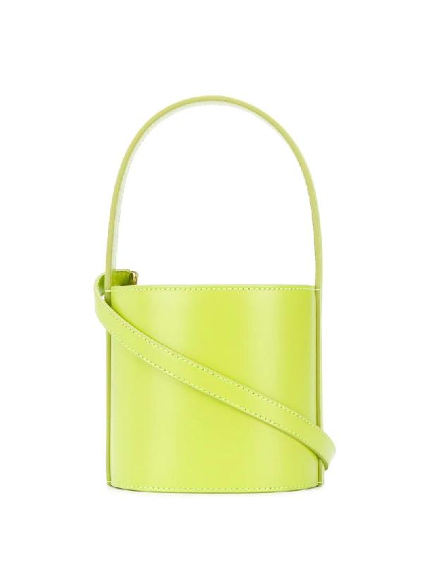Staud Mini Bissett Leather Bucket Bag In Green