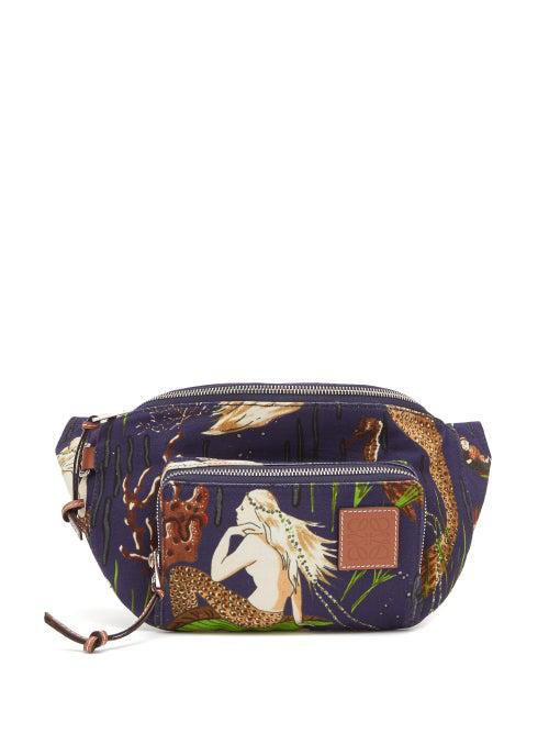 Loewe Paula's Ibiza Printed Leather-trimmed Canvas Belt Bag In Blue Multi