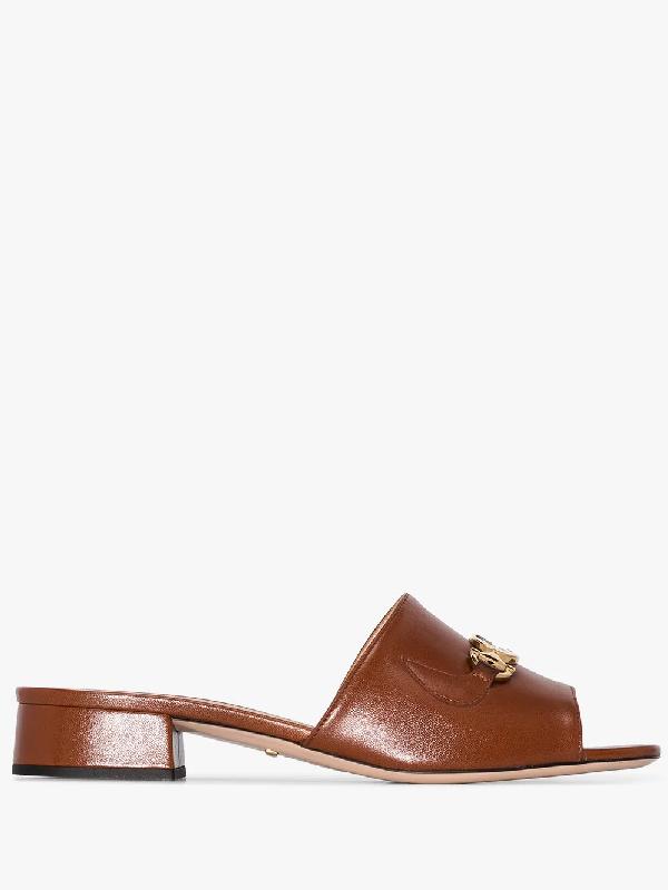 Gucci Brown Zumi 25 Logo Leather Sandals
