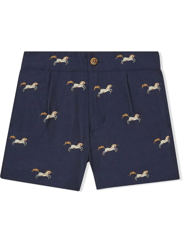 Burberry Kids' Unicorn Embroidered Shorts In Blue
