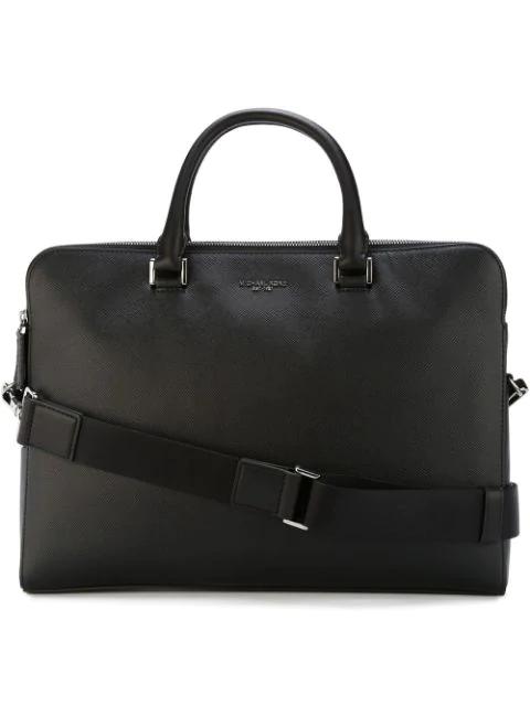 Michael Kors Harrison Leather Medium Double Zip Briefcase In Black