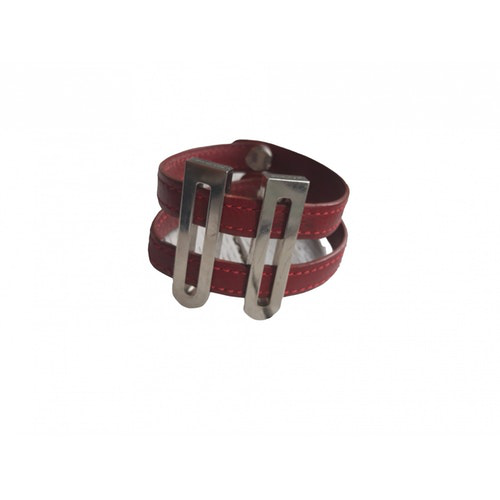 Pre-owned Delvaux Burgundy Leather Bracelet