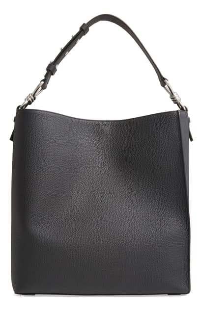 Allsaints Captain Leather North/south Tote In Black