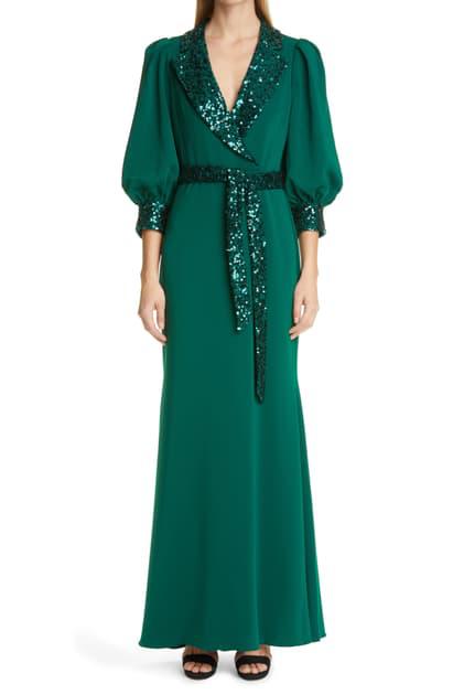 Badgley Mischka Sequin Combo Shirt Gown In Dark Emerald