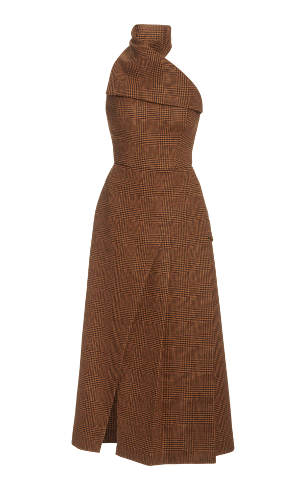 Brandon Maxwell Draped Checked Wool Halterneck Midi Dress In Brown