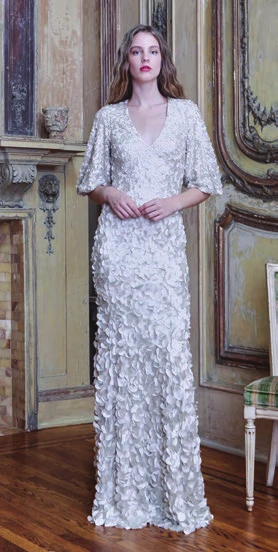 Theia V-neck Hand Embroidered Gown