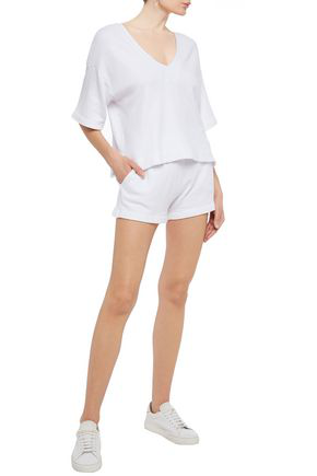 Enza Costa French Cotton-blend Terry Shorts In White