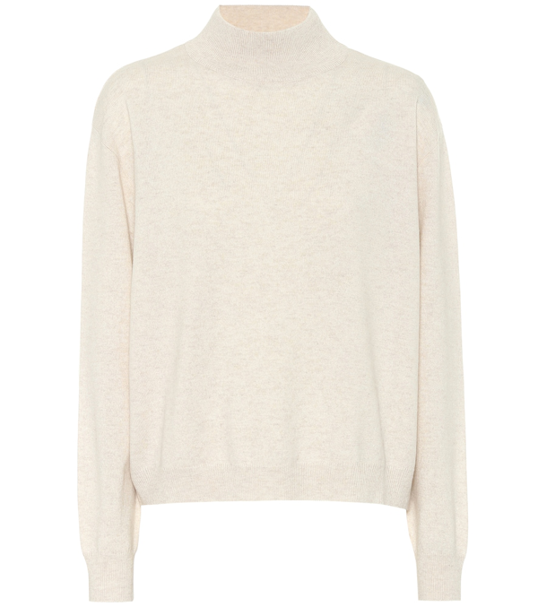 Brunello Cucinelli Cashmere-blend Turtleneck Sweater In Taupe