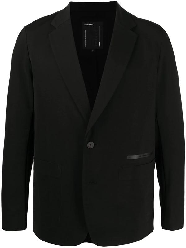 Attachment Trimmed Pocket Single-breasted Blazer In Black