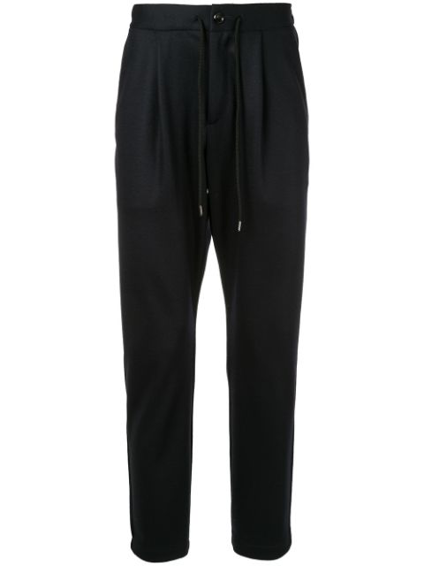 Attachment Elastic Drawstring Waist Tapered Pants In Black