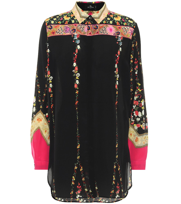 Etro Women's Floral Ribbon Silk Tunic Top In Black