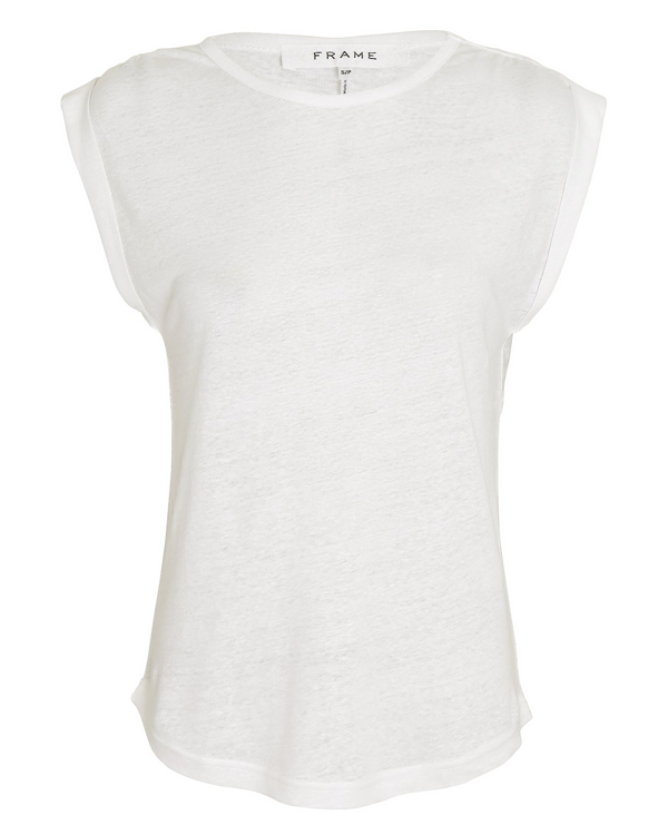 Frame Gathered Slouchy Linen Tank In Blanc