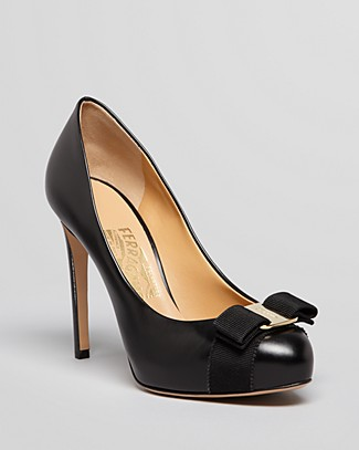 Salvatore Ferragamo 'Plum' Peep Toe Patent Leather Pump In Black