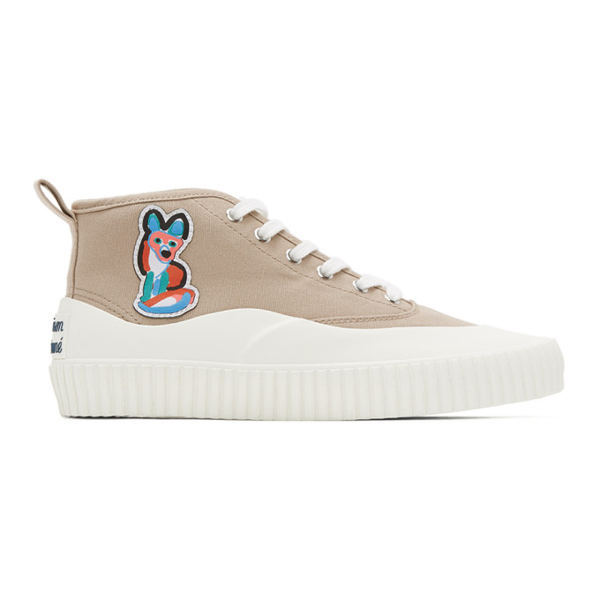 Maison Kitsuné Maison Kitsune Beige Acide Fox Patch High-top Sneakers In Be Beige