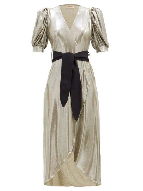 Adriana Degreas Balloon-sleeve Metallic-effect Jersey Dress In Silver