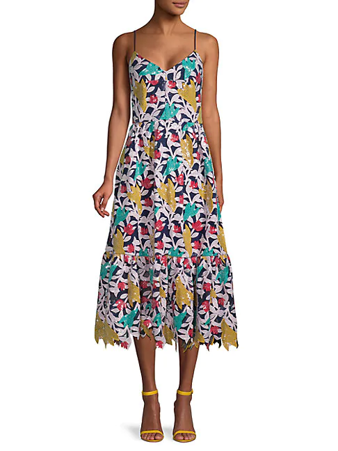Prabal Gurung Sequin Lace Sleeveless Fit & Flare Dress In Navy Multicolor