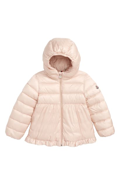 Moncler Kids' Odile Hooded Water Resistant Down Jacket In Light Pink