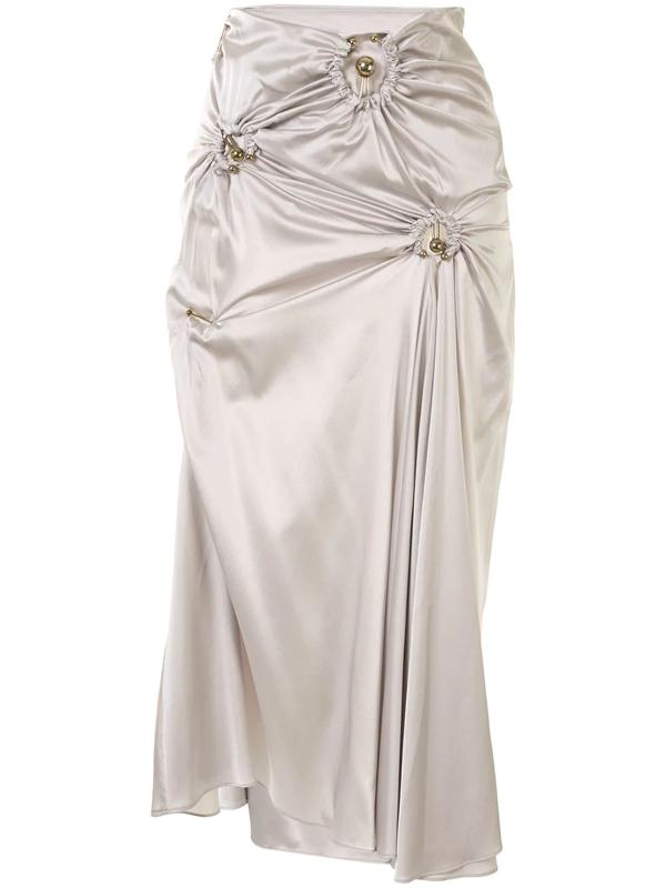 Christopher Esber Orbit Ruched Midi Skirt In Grey