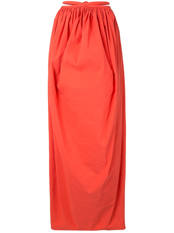 Christopher Esber Gathered Maxi Skirt In Orange