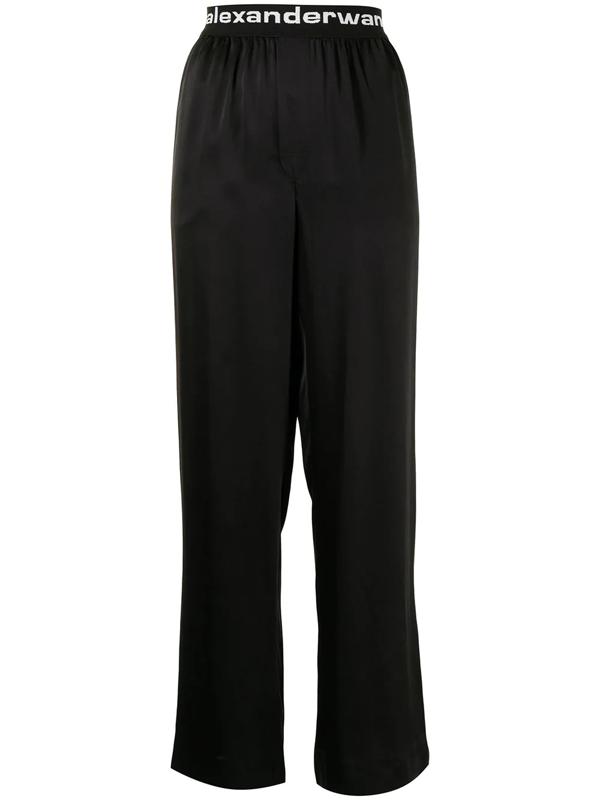 Alexander Wang T Logo Waistband Wide-leg Trousers In Black