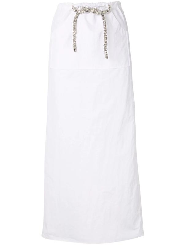 Christopher Esber Cargo Crystal-tie Skirt In White