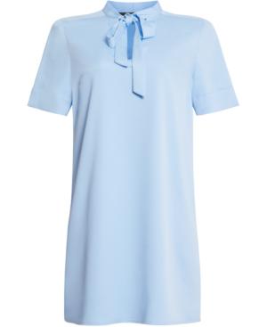 Bcbgmaxazria Tie Neck Shift Dress In Placid Blue